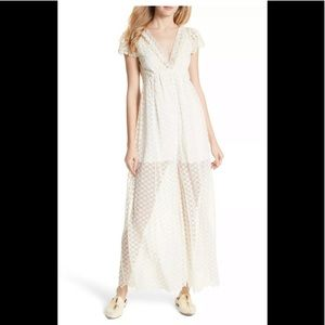Free People Jumpsuit Lace Embroidered Crochet  M